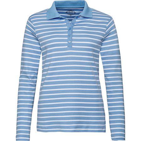 33a36b204f Adagio Damen Streifen-Poloshirt, hellblau/weiß, 48