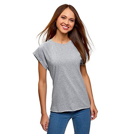7410722a36db03 oodji Ultra Damen T-Shirt Basic Aus Baumwolle, Grau, DE 34/EU