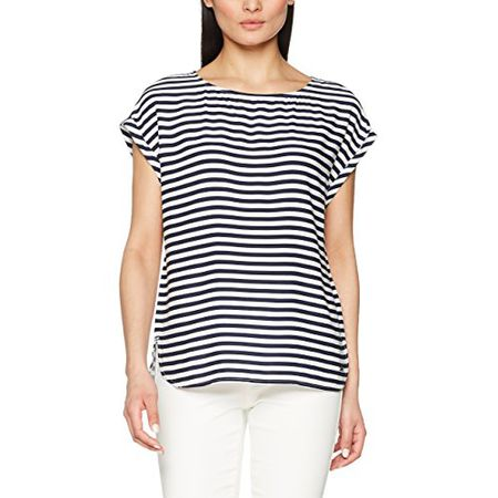 TOM TAILOR Denim Damen Bluse Printed Sporty Blouse Top, Weiß (White 6 1006) 5b2ff286d4