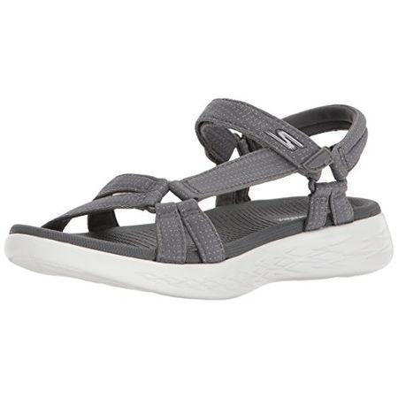 Skechers On the go Damen Sandalen Pantoletten Blau Schuhe, Größe:40