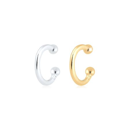 Elli Ohrringe Earcuff Set Bi-Color Kugel Geo Minimal 925 Silber, Silber 496992e472