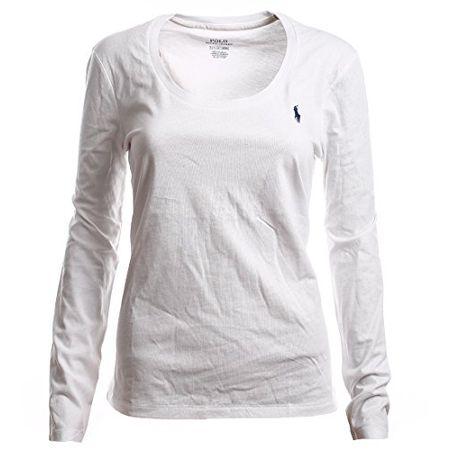 7feeee186019d9 Ralph Lauren Polo Damen Rundhals Langarmshirt Longsleeve Shirt Weiß Größe XS