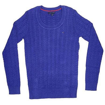 a368923ee171 Tommy Hilfiger Damen Zopf Pullover Pulli Strickpullover Rundhals royalblau Größe  S