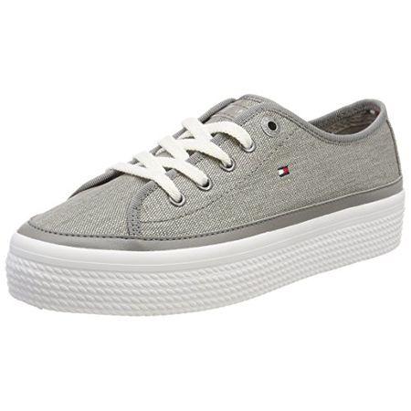4772b3d95412e7 Tommy Hilfiger Damen Glitter Textile Flatform Sneaker, Grau (Light Grey  004), 38