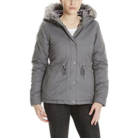 Bench Damen Jacke Padded Jacket with Fur Lining, Grau (Dark Grey Gy149), Small