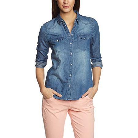 VERO MODA Damen Regular Fit Bluse VERA LS DENIM SHIRT MED. BLUE - NOOS, e769e270d530