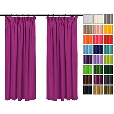 Einfarbig Blickdicht Vorhänge 2er Set Mit Universal Kräuselband Bleistift Fuchsie 43 135x150 Cm Bxh Lichtundurchlässig 2 Stück Vorhang Sonnen