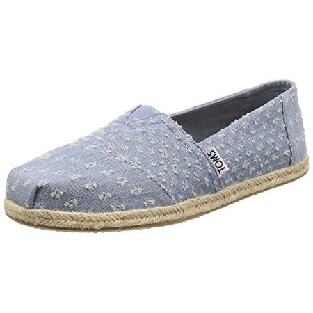 TOMS Womens Classics Seaglass Torn Denim Rope Sole 38