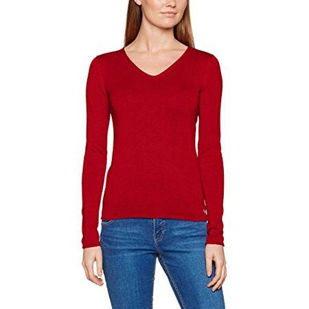 TOM TAILOR Damen Pullover Basic v Neck Sweater, Rot (Scooter Red 4543), 46 (Herstellergröße: XXXL)