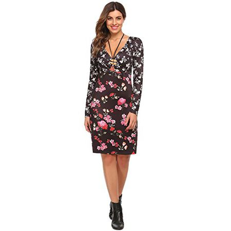 5d7dd75fd5c093 Chigant Damen Blumen Kleid Elegant V Ausschnitt Wickelkleid Knielang  Langarm Rockabilly Abendkleider
