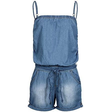 uk availability a6299 1bfa9 Sublevel Damen Jeans Jumpsuit Overall LSL-270 geflochtener Gürtel  Washed-Look kurz middle blue L