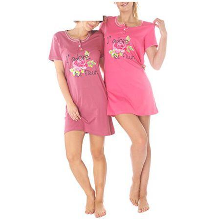 ffd4dd7f4ab5c9 Consult-Tex Damen Kurzarm Nachthemd Baumwolle 2 Stück Packung DW903 40/42