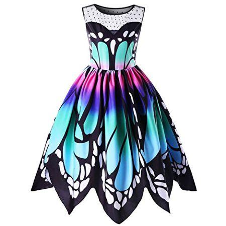 3d7e4321279f5b Elecenty Damen Swing Sommerkleid Schmetterling Drucken Rock Mädchen  Knielang Kleider Frauen Mode Spitze Ärmellos Kleid Minikleid