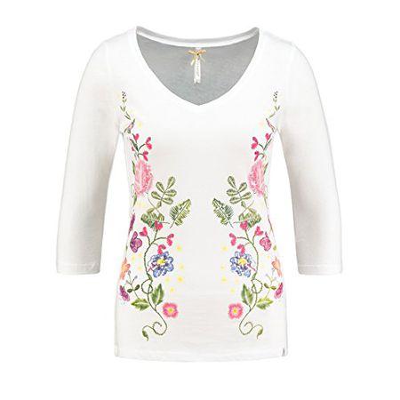 Key Largo Damen Langarmshirt WLS Fantasy Longsleeve 3 4 Flower Blumen  Frühling Spring Weiß S f6d7691d0f