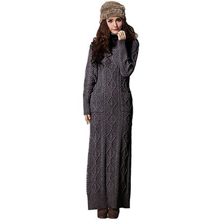 2094e164ff722e BININBOX®Damenkleider Strickkleid Maxikleid Knit dress Rollkragen cable  Sweatkleid (S, Dunkelgrau)