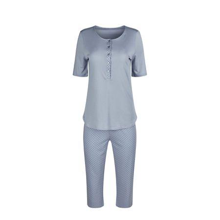 Repliken akribische Färbeprozesse harmonische Farben HUBER Pyjama 'Summer Breeze' rauchblau
