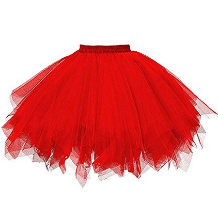 ddc11ef3641f Vertvie Damen Retro Petticoat Rock Kurz 50er Jahre Vintage Tutu Unterrock  Reifrock für Ballett Wedding Bridal Rockabilly Kleid (One Size, Rot)