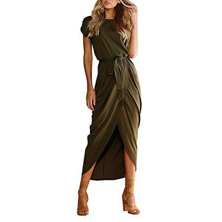 1548bdb62fb1 Yieune Sommerkleid Damen Lose Abendkleid Einfarbig Maxikleider Elegant  Lange Strandkleid