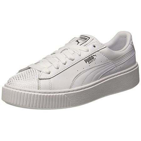 Puma Damen Basket Platform Ocean WN's Sneaker, Weiß White Silver White, 37.5 EU