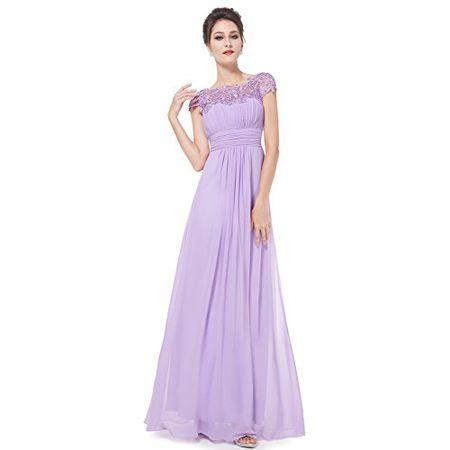 404772b11d5 Ever Pretty Damen Lace Rueckseite Offen Chiffon Lange Brautjungfernkleid  Abendkleider 44 Lavendel EP09993LV12