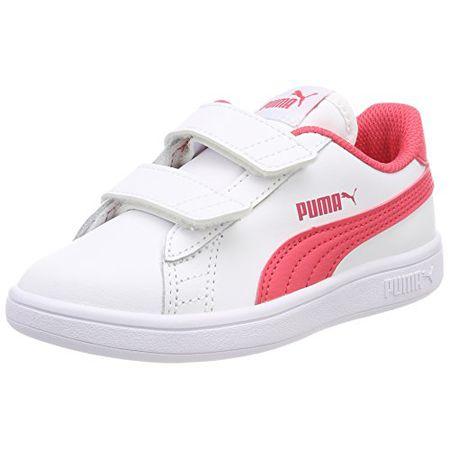 fa3aea5de3 Puma Unisex-Kinder Smash v2 L V PS Sneaker, Weiß White-Paradise Pink,