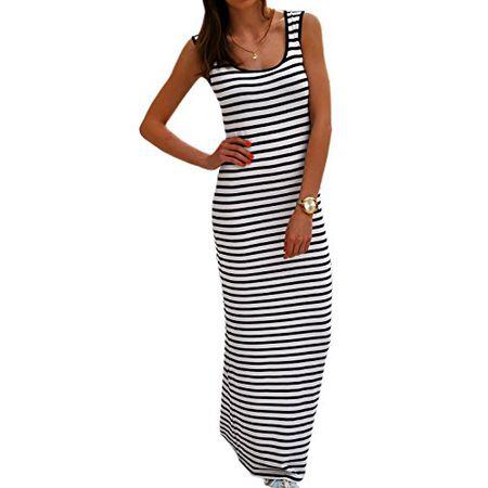 Damen Kleid Maxikleid Bodenlang Sommer Urlaub Boho Summer Blogger MaXi  Dress Boho Celebrities Style Stripes SommerKleid 7845562957