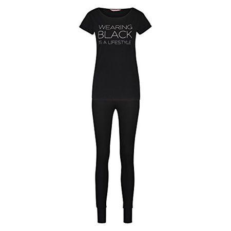 d2b5c999f41722 Hunkemöller Damen Pyjamaset Jersey Fancy Schwarz S131500