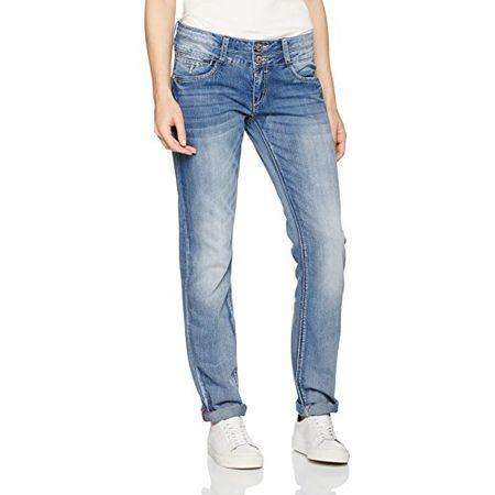Timezone Damen Jeans Slim Enya, Blau (Cool Bleach Wash 3499), W32L30 (Herstellergröße: 3230)