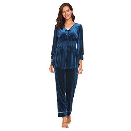 fa0ec1ec10 Ekouaer Damen Samt Anzug Pyjama V Ausschnitt Lang Schlafanzug Nachtwäsche  für Herbst Winter