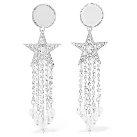 Miu Miu Silberfarbene Ohrclips Mit Kristallen Und Perspex® one size