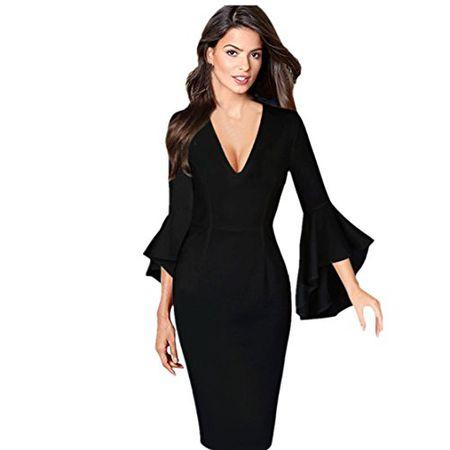 3548f85a71b999 Bekleidung Loveso Kleid Sommerkleider Herbst Kleidung Einfarbig Damen Kleid  V Ausschnitt Langarm Elegante Abendkleid Noble Partykleid