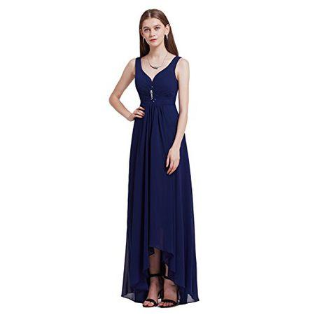 5fd21df9d36 Ever Pretty Damen V-Ausschnitt Chiffon Lange Abendkleider Größe 36  Marineblau