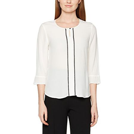 00859a9be3a64d GERRY WEBER Damen Bluse All Day Glam, Weiß (Off-White 99700),