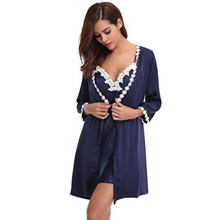 9127c5049825f9 Damen Zwei Chemise Negligee Satin L Blau Patchwork Nachtwäsche Nachthemd  Pyjama Set Spitze Aibrou Kimono Robe ...