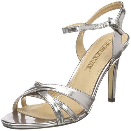 Buffalo Shoes 312703 METALLIC PU, Damen Knöchelriemchen Sandalen, Silber (PEWTER 01), 36 EU