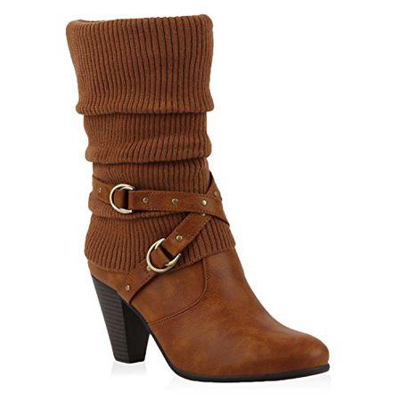 e3ec97901caaa9 Damen Stiefel Stulpen Stiefeletten High Heel Boots Schuhe 110719 Hellbraun  38 Flandell