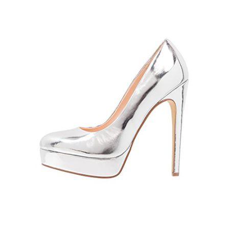 Even Odd  Plateau-Pumps Damen Silber – High Heels mit 13 cm Stiletto, ... e054ddd49d