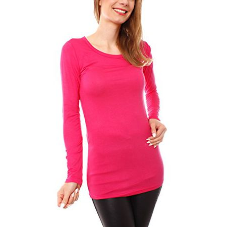 a719f7278982 Easy Young Fashion Damen Langarm T-Basic Shirt Lang Longshirt Langarmshirt  Unterziehshirt Minikleid Unterkleid Rundhals