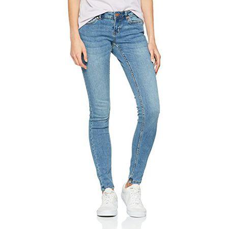 Weiß Noisy May Damen Jeans NMEVE LW S.SLIM JEANS WHITE GU501 Super Slim Fit