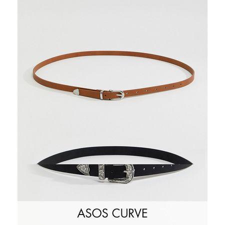 2f93b835b0f7ed ASOS DESIGN Curve - Taillen- und Hüftgürtel im Westen-Stil, 2er-Pack