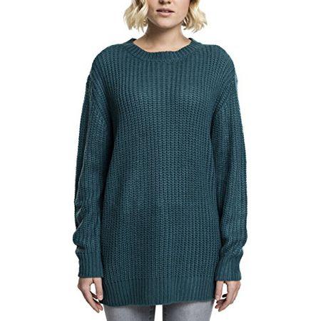 166db10a5033bc Urban Classics Damen Pullover Ladies Basic Crew Sweater, Türkis (Teal  1143), X