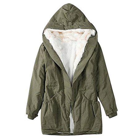 iBaste Winterjacke Damen Mantel verdickte Parka mit Kapuzen Damen Herbst Trenchcoat Outerwear AG M