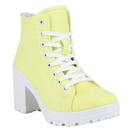 68b7b7acad Damen Schuhe Schnürstiefeletten Stoff Stiefeletten Profil Sohle 155843 Gelb  39 Flandell