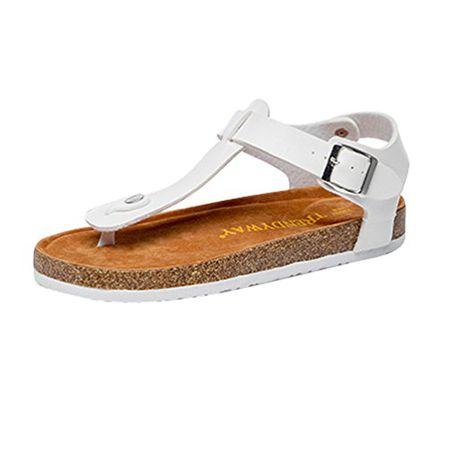 5223a26c51fe ZKOO Zehentrenner Sandalen Damen Riemchen Kork Sandaletten Sommer Hausschuhe  Pantoletten Sand Flache Schuhe Freizeit Komfort Weiß