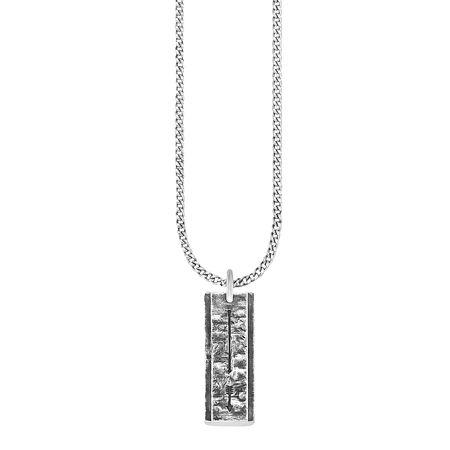 Cai Anhänger mit Kette 925 Sterling Silber oxidiert Pfeil Halsketten weiß Herren