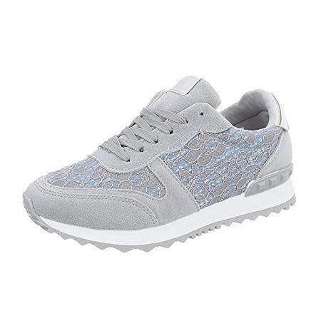 Ital Design Sneakers Low Damen Schuhe Sneakers Low Sneakers Schnürsenkel Freizeitschuhe Hellgrau, Gr 38, G 100