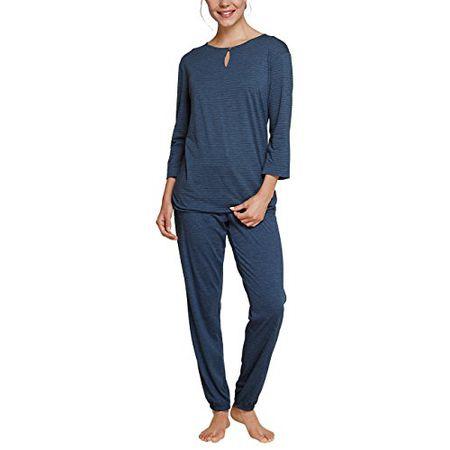 timeless design 2d218 bab68 Schiesser Damen Zweiteiliger Schlafanzug Selected Premium Pyjama Lang,  Schwarz (Blauschwarz 001), 42 (Herstellergröße: 042)