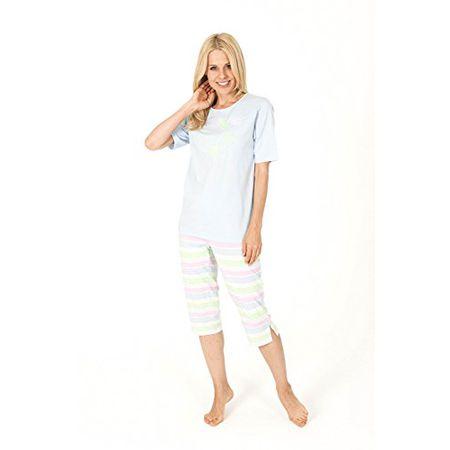 Edler  Damen Pyjama Schlafanzug mit modischen Frontprint 58698