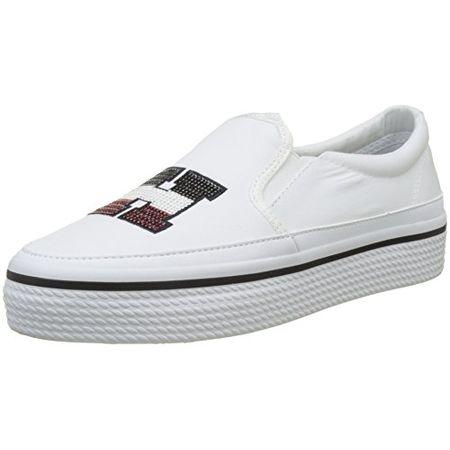 f5151ad6ff3b92 Tommy Hilfiger Damen Tommy Sequins Flatform Sneaker, Weiß (White 100), 40 EU