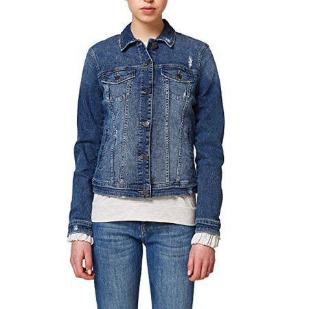 wholesale dealer 6291c dbde4 ESPRIT Damen Jeansjacke 028EE1G031, Blau (Blue Medium Wash 902), Large